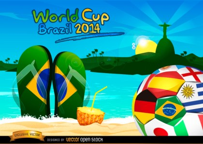 Brazil 2014 Ball on Rio Beach Free Vector