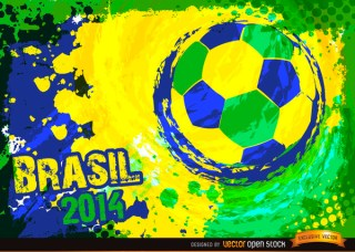 Brazil 2014 Blue Green Yellow Football Background Free Vector