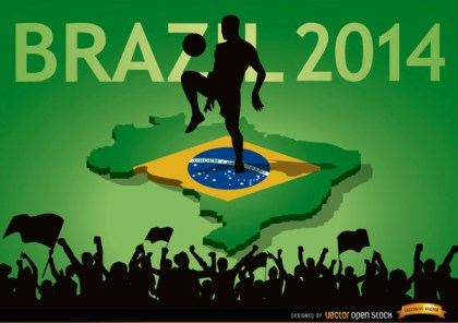 Brazil 2014 Country Fan Crowds Free Vector