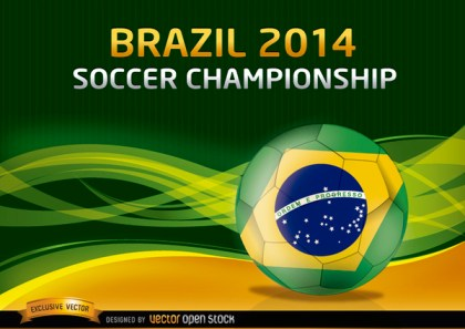 Brazil 2014 Soccer Championship Background Free Vector