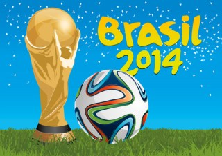Brazil 2014 Trophy and Football Free Vector
