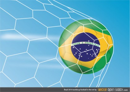 Brazil 2014 Worldcup Football In The Net Free Vector