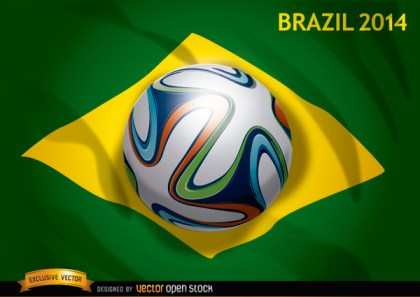 Brazil Flag 2014 with Official Soccer Football Free Vector