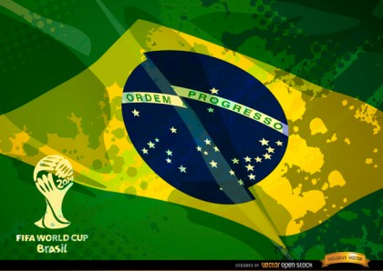 Brazil Grunge Flag Football Cup Logo Free Vector