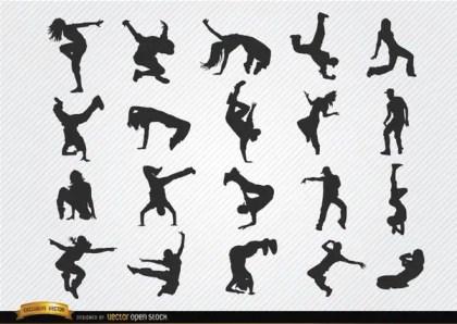 Break Dance Silhouettes Free Vector