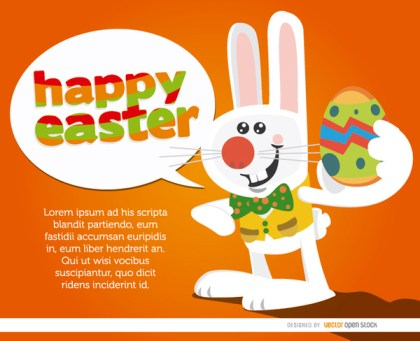 Bunny with Egg Saying Happy Easter Free Vector