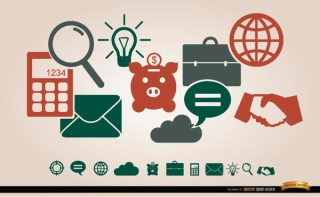 Business Financial Icons Menu Free Vector