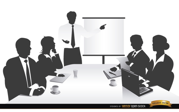 Business Meeting People Silhouettes Free Vector