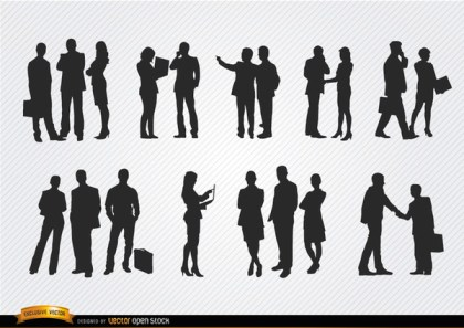 Business People Meeting Silhouettes Free Vector