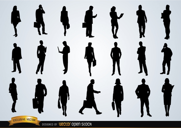 Business People Silhouettes Free Vector