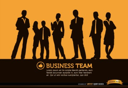 Business People Standing Silhouettes Background Free Vector