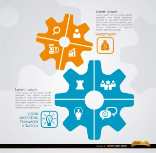Business Strategy Gear Infographics Free Vector