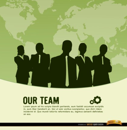 Business Team World Map Background Free Vector