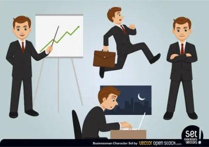 Businessman Character Set Free Vector