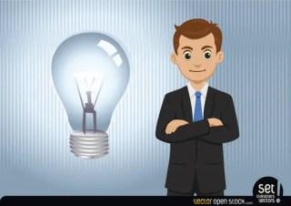 Businessman Having An Idea (Lightbulb) Free Vector