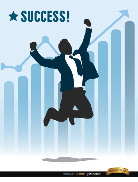 Businessman Jumping Success Chart Free Vector