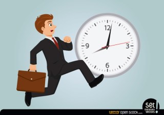 Businessman Late Running Free Vector