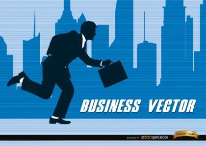 Businessman Silhouette Running City Free Vector