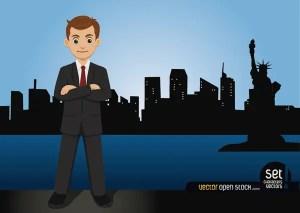 Businessman Standing on The New York Skyline Free Vector