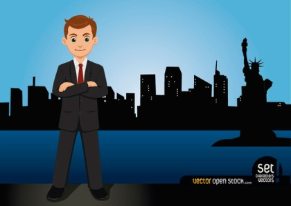Businessman Standing on The New York Skyline Free Vector