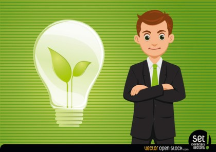 Businessman with Fresh Idea Light Bulb Free Vector