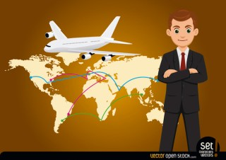 Businessman with Global Map and Airplane Free Vector