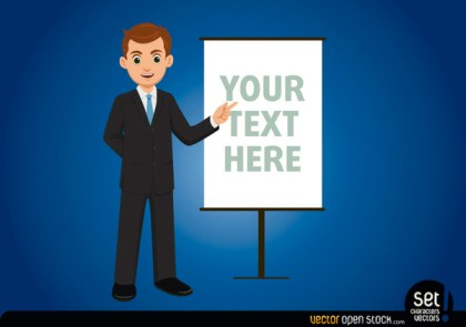 Businessman with Message Board Free Vector