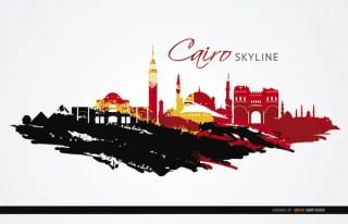 Cairo Landmarks Painted Flag Free Vector