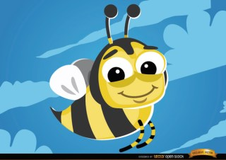 Cartoon Bee Flying Bug Free Vector