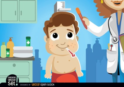 Cartoon Boy In Medical Exam Free Vector
