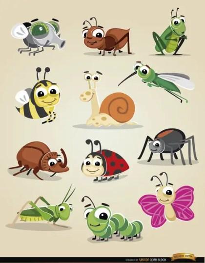 Cartoon Bugs Icon Set Free Vector
