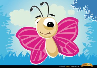 Cartoon Butterfly Flying Bug In Forest Free Vector