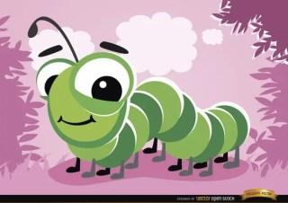 Cartoon Caterpillar Bug Free Vector