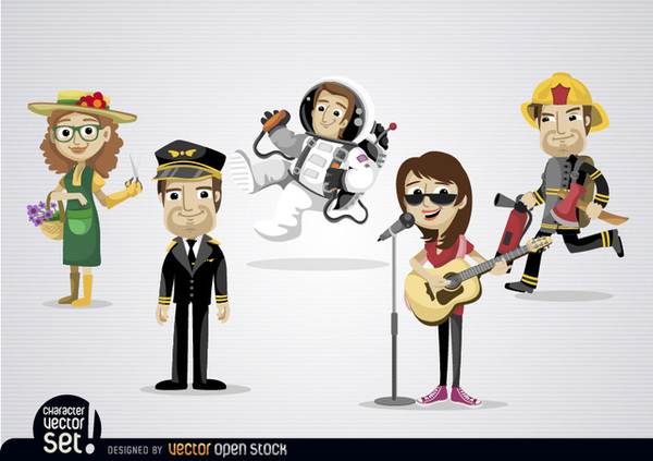 Cartoon Characters with Different Professions Free Vector