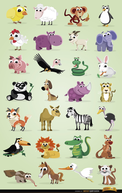 Cartoon Domestic and Wild Animals Pack Free Vector