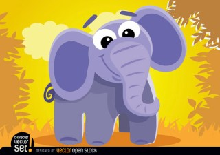 Cartoon Elephant In The Jungle Free Vector