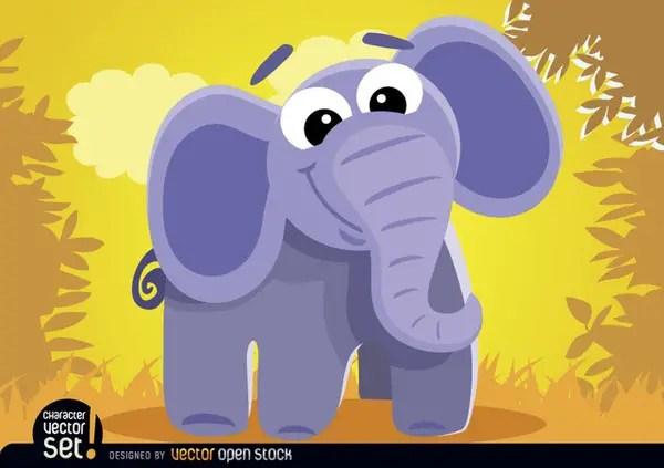 Cartoon Elephant In The Jungle Free Vector
