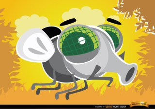 Cartoon Fly Bug In The Air Free Vector