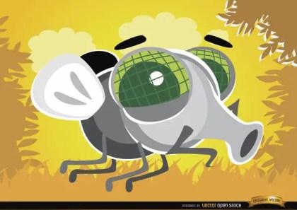 Cartoon Fly Bug In The Air Free Vector