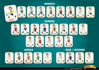Cartoon Football Players Teams Brazil 2014 Free Vector