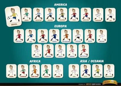 Cartoon Football Players Teams Brazil 2014 Free Vector