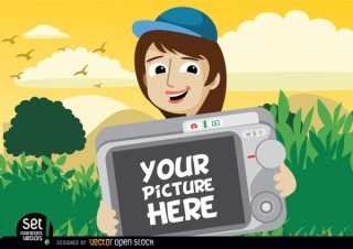 Cartoon Girl Showing Photo In Camera Free Vector
