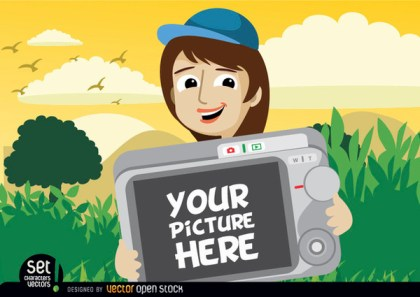 Cartoon Girl Showing Photo In Camera Free Vector