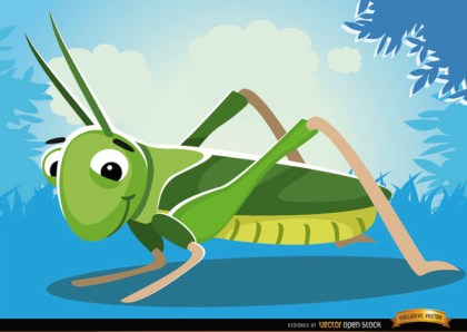 Cartoon Grasshopper Insect on Grass Free Vector