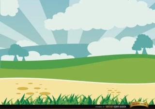 Cartoon Green Landscape Free Vector