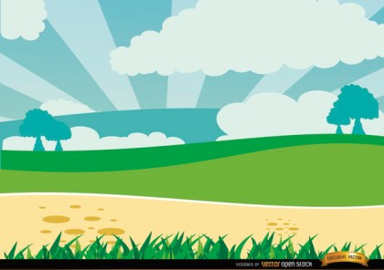 Cartoon Green Landscape Free Vector
