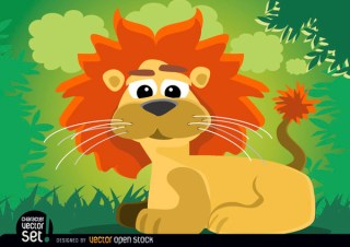 Cartoon Lion Animal Sitting In Jungle Free Vector