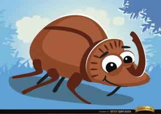 Cartoon Rhinoceros Beetle Bug on Grass Free Vector