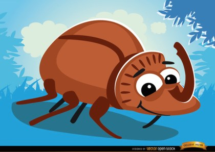 Cartoon Rhinoceros Beetle Bug on Grass Free Vector