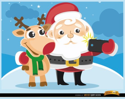 Cartoon Santa and Reindeer Selfie Free Vector
